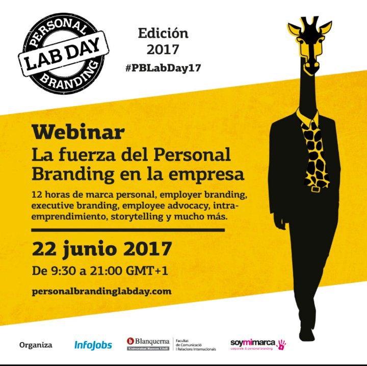 No te pierdas el webinar de @PBLabDay #PersonalBranding https://t.co/2B5Zs9StVT