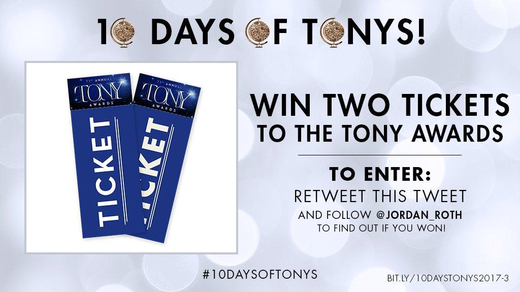 Want to come to @TheTonyAwards?! Retweet & follow to enter to win 2 tickets to the 2017 #TonyAwards. #10DaysOfTonys https://t.co/W7wQ1jUDQj