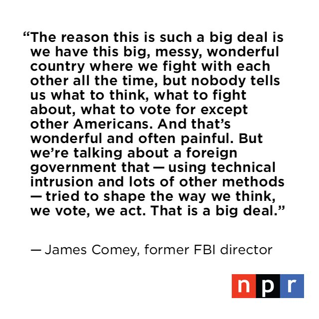 Comey was asked why Americans should care about the investigation into Russian meddling in the U.S. election. https://t.co/i5uUsOuqq5