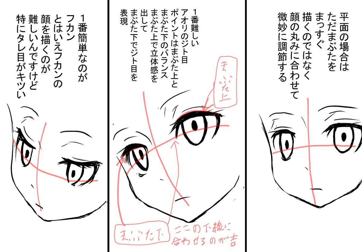 ナベツネ On Twitter みんな大好きジト目のクッソ簡単な描き方 棒描い
