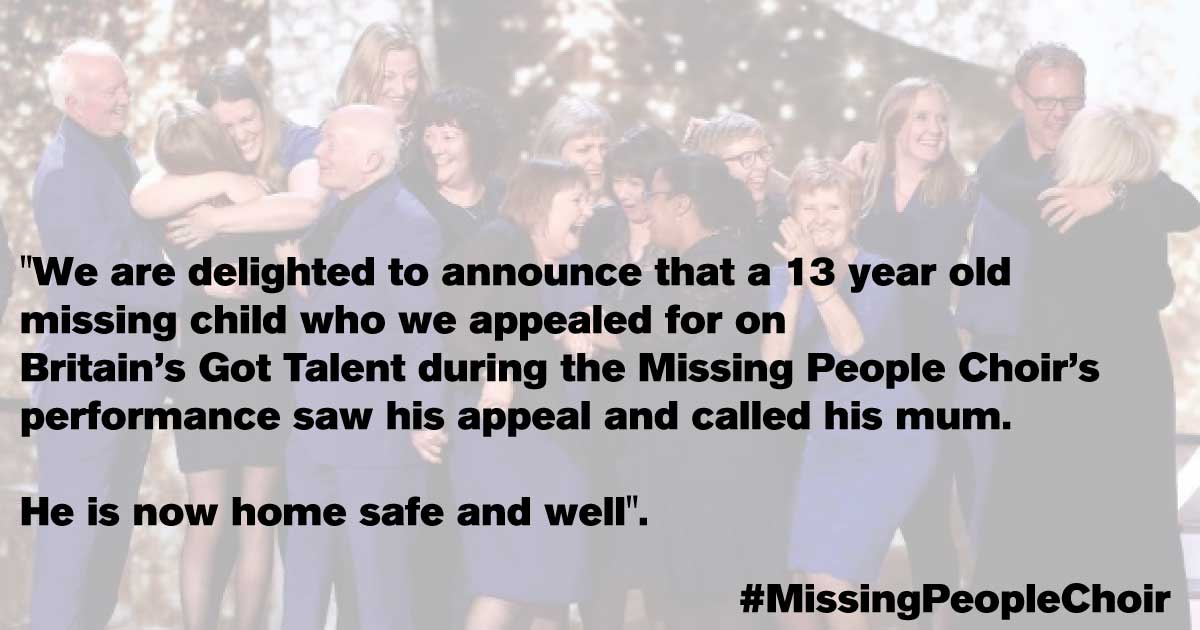 Amazing news off the back of the #MissingPeopleChoir's performance on @BGT! https://t.co/LBDcjJYaJF #BGT https://t.co/sfFFfQ1P6C