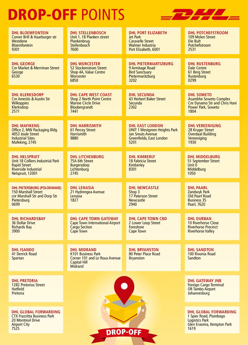 Dhl Locations Near Me >> Dhl Africa On Twitter Here Are Our Drop Off Locations For