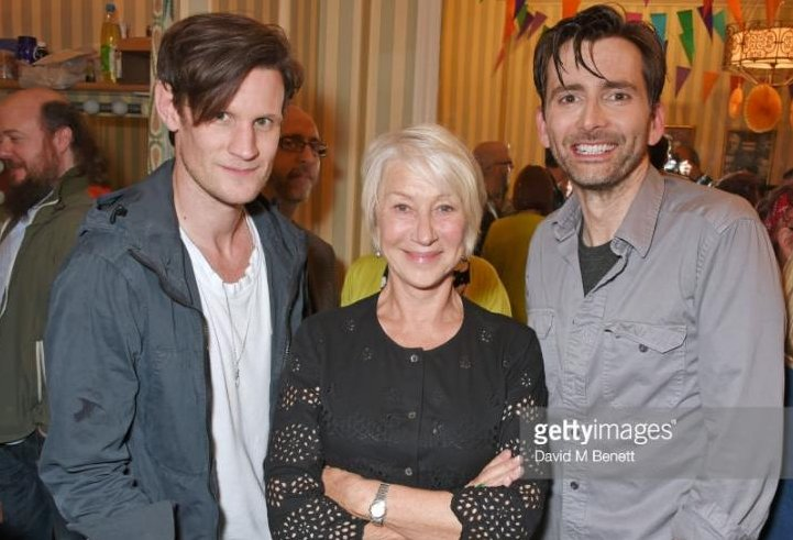 David Tennant with Matt Smith and Dame Helen Mirren after Don Juan In Soho on Wednesday 7th June