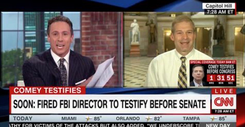 Chris Cuomo and Rep. Jim Jordan Go At It Over Comey Statement https://t.co/rb3BArrIun