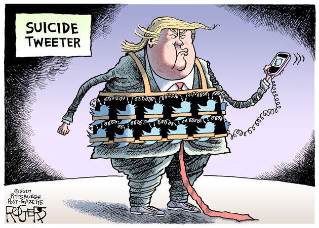"Rob Rogers on Twitter: ""Suicide Vest cartoon: https://t.co/NeaY4AFlul #Trump #Twitter #terrorism #socialmedia… """