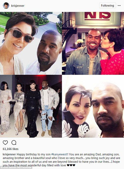 Kris Jenner is the first to wish Kim Kardashian\s husband Kanye West a happy 40th birthday