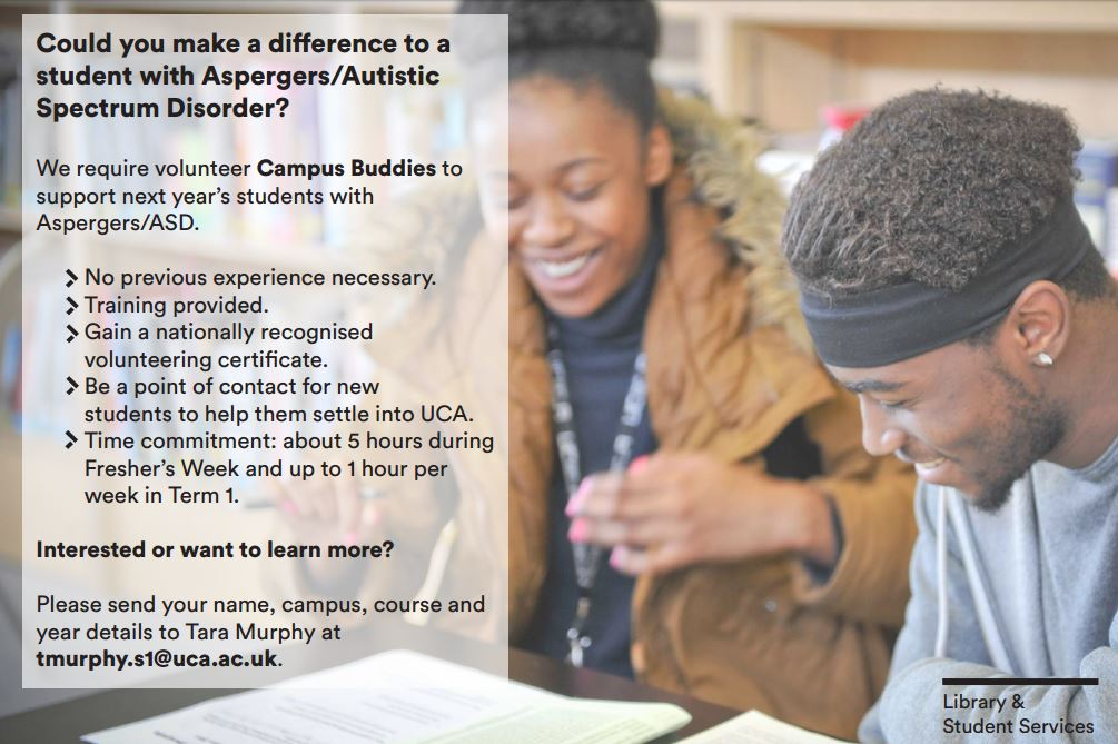 test Twitter Media - Make a real difference to new students with Aspergers/ Autistic Spectrum Disorder; Be a Campus Buddy! Contact Tara: tmurphy.s1@uca.ac.uk https://t.co/AEZTppFqIB
