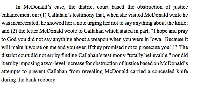 """For instance:  Eighth Circuit affirmed an obstruction of justice enhancement based partly on an """"I hope"""" statement  https://t.co/EbQhttps://t.co/85F2d7A8A4H"""