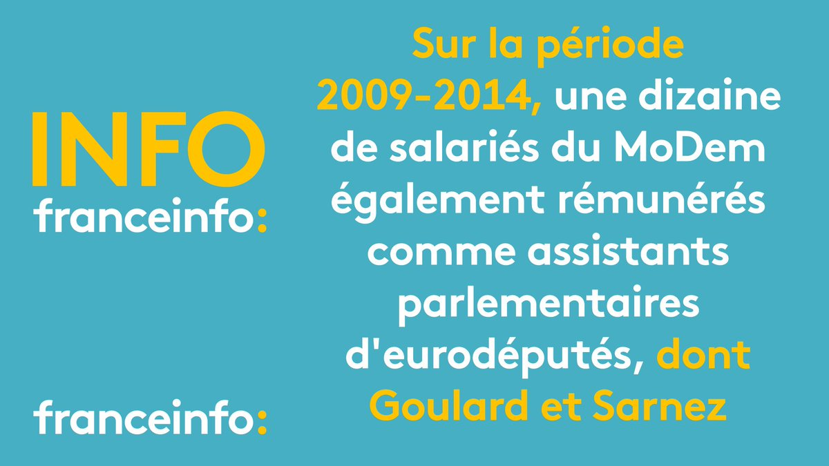 INFO FRANCEINFO. Une dizaine de salariés du Modem également rémunérés comme assistants parlementaires d'eurodéputéhttps://t.co/GVvkKZn9IWs