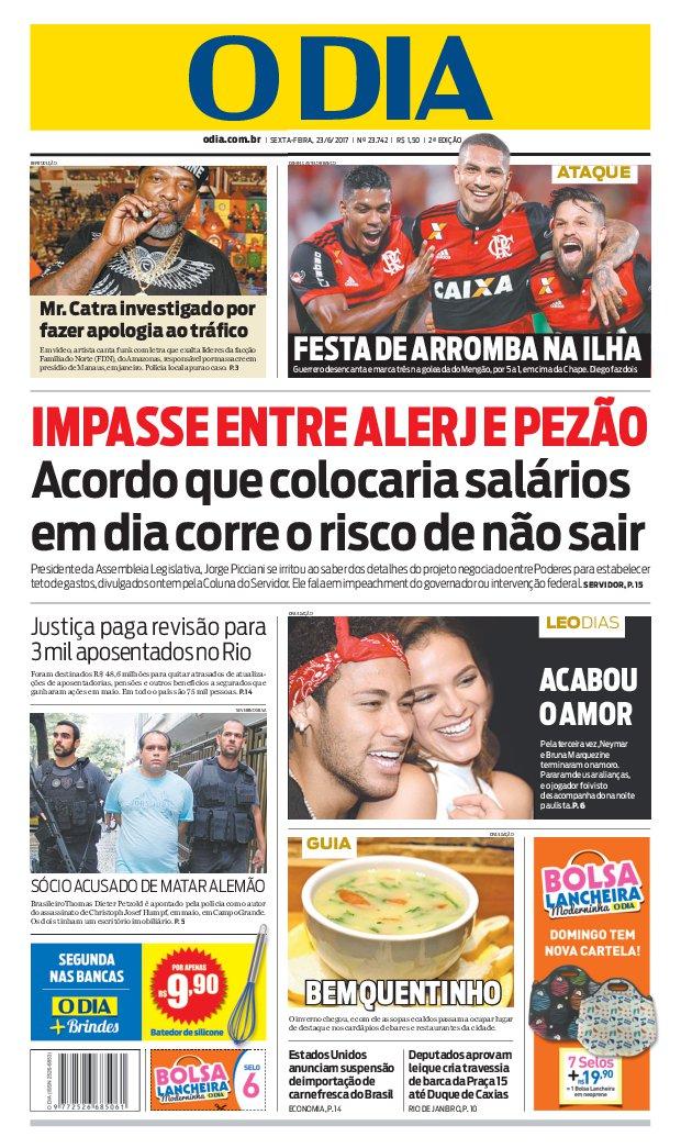 Bom dia, leitores do @jornalodia. Eis a capa de hoje 23/06/2017. #capaODIA. Saiba tudo em https://t.co/FQEIhBjVJp