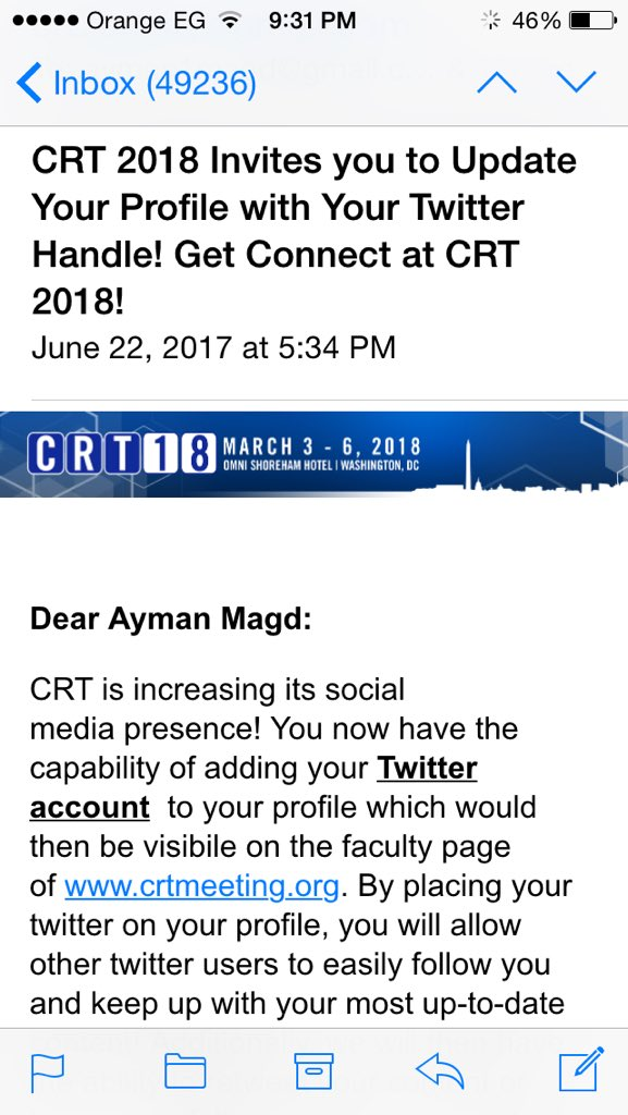 CRT meeting is rapidly acknowledging the importance of Twitter & Tweeting at its conference ! Good job ! #CRT2018 https://t.co/3OtwxvU85q