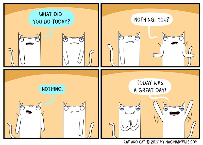 in #todays #cat and cat #comic #we #learn that the #simple #days are sometimes the #best of days  #webcomics #lol #cats #day #great #nothing<br>http://pic.twitter.com/9aN8g4CXu0