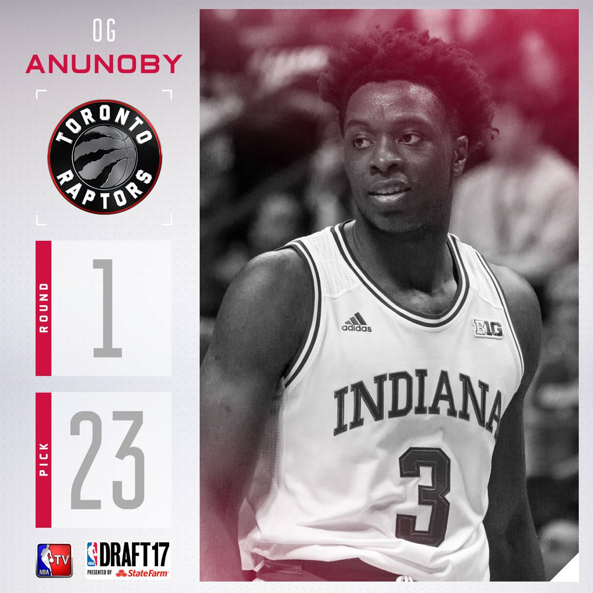 The @Raptors select OG Anunoby with the #23 pick in the 2017 #NBADraft...