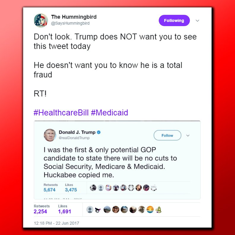 Retweet this, point out what a liar @realDonaldtRump is! MT @SaysHummingbird #HealthcareBill #Medicaid #Trumpcare #AHCA #AHCAKills  #Resist<br>http://pic.twitter.com/2i7O8ukI3l
