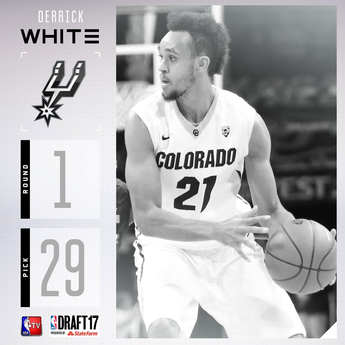 The @spurs select Derrick White with the #29 pick in the 2017 #NBADraf...