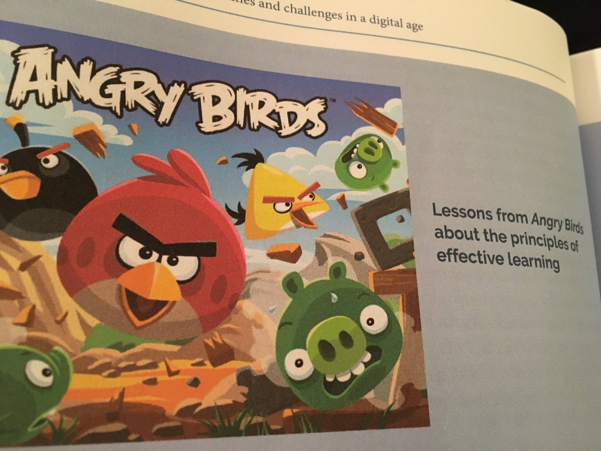 ❤ idea of comparing principles of effective learning to Angry Birds-Engaging inquiry based self regulated rich feedback  #ThinkingClassrooms https://t.co/KLBYf6NZbl