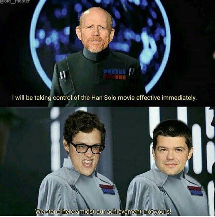 We suspect the change in #HanSolo directors went something like this. -B- <br>http://pic.twitter.com/X9wQVoD9Ka
