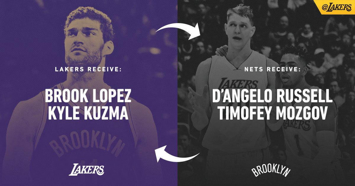 OFFICIAL: Lakers acquire Brook Lopez and 27th overall draft pick Kyle Kuzma in a trade with Brooklyn.