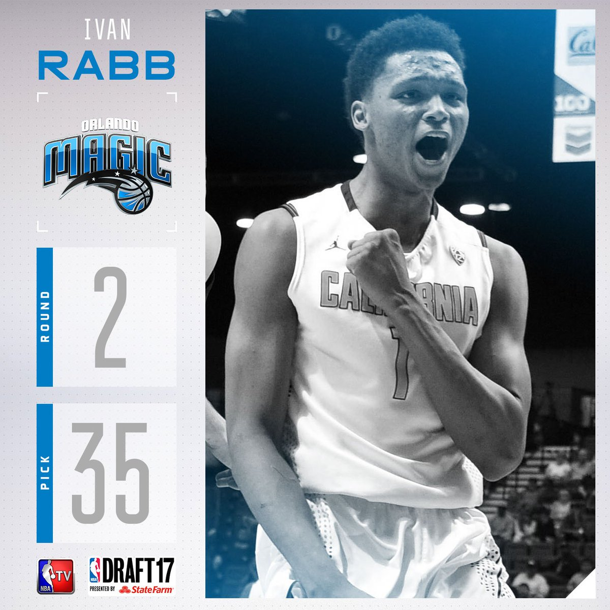 The @OrlandoMagic select Ivan Rabb with the #35 pick in the 2017 #NBAD...