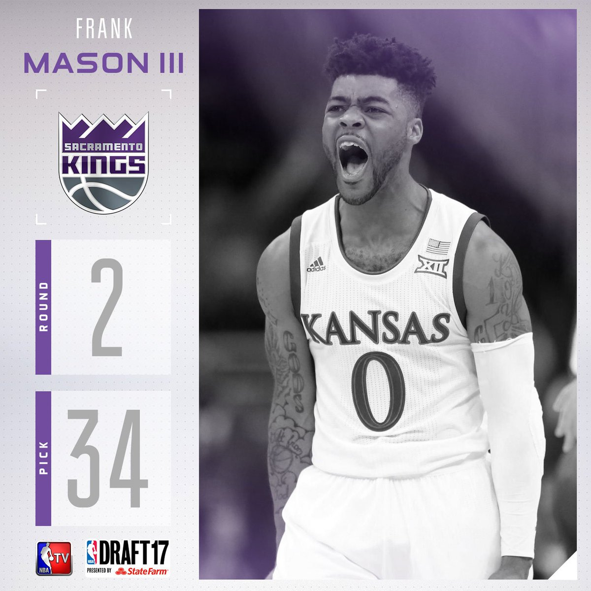 The @SacramentoKings select Frank Mason III with the #34 pick in the 2...