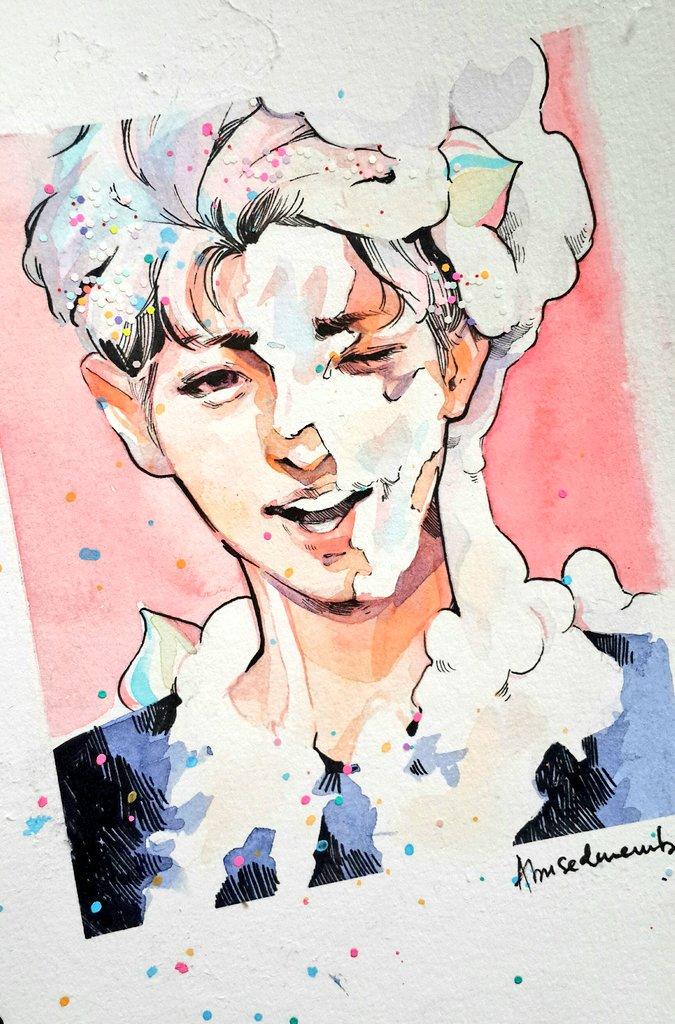 Chanyeol the unicorn cake! Inspired by Cupcake Jemma&#39;s unicorn cake~ yumm~ #Chanyeol #EXO #찬열 #엑소<br>http://pic.twitter.com/v7OiF9sbOz