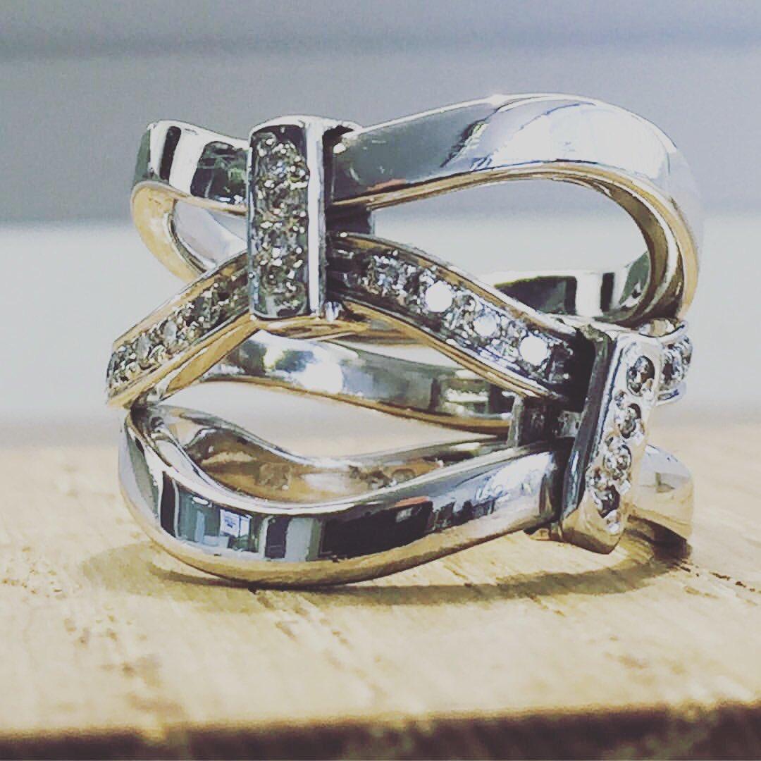 Handmade by Guy Wakeling 18ct White Gold Diamond Triple Ring @PrestonH...