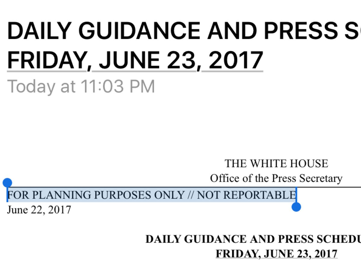 When did the White House and State daily schedules become not reportable? Outrageous. https://t.co/KsFmPuPf83