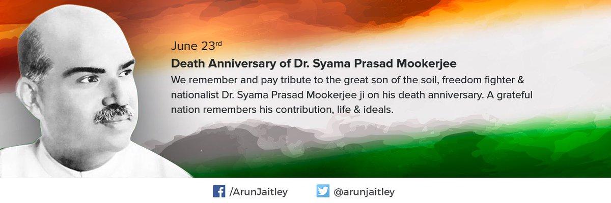 Tribute to Dr. #SyamaprasadMookerjee ji on his death anniversary https...