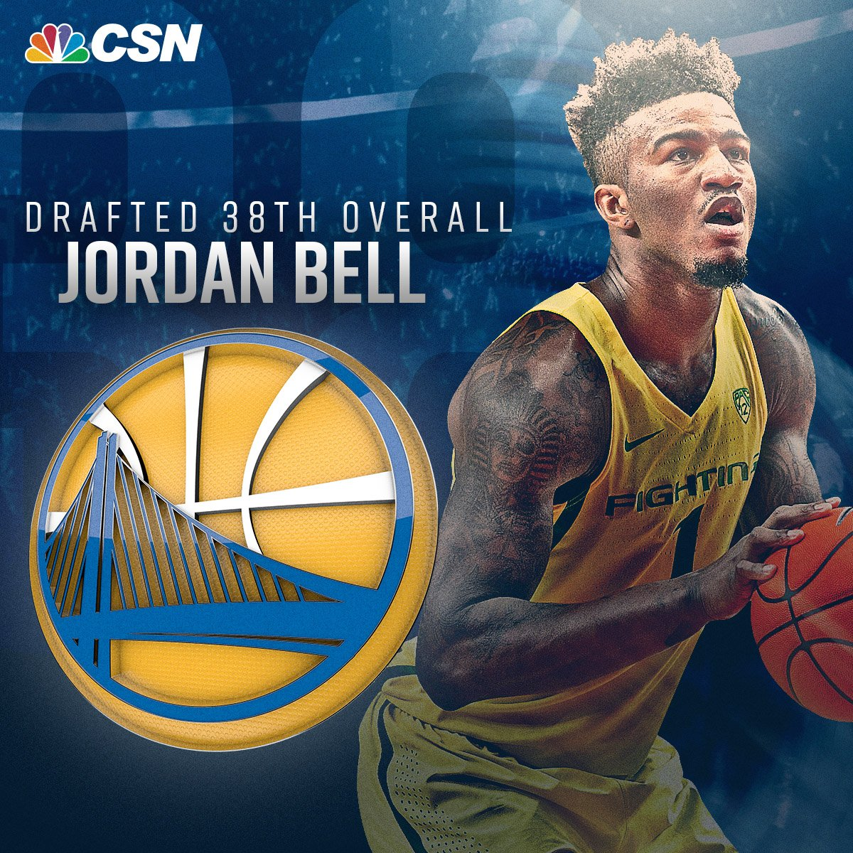 Congratulations to @OregonMBB's Jordan Bell. He's headed to the Warrio...