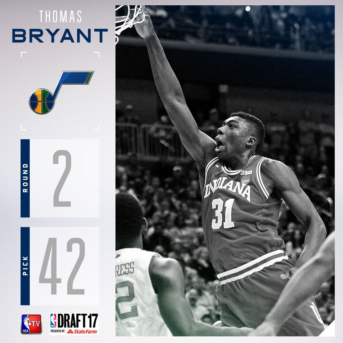 The @utahjazz select Thomas Bryant with the #42 pick in the 2017 #NBAD...