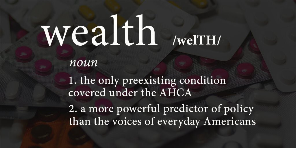 If we allow big $ to dictate #healthcare policy, only one #preexistingcondition will be protected: wealth.  24M Americans will pay the price<br>http://pic.twitter.com/IR4DwAqfNb
