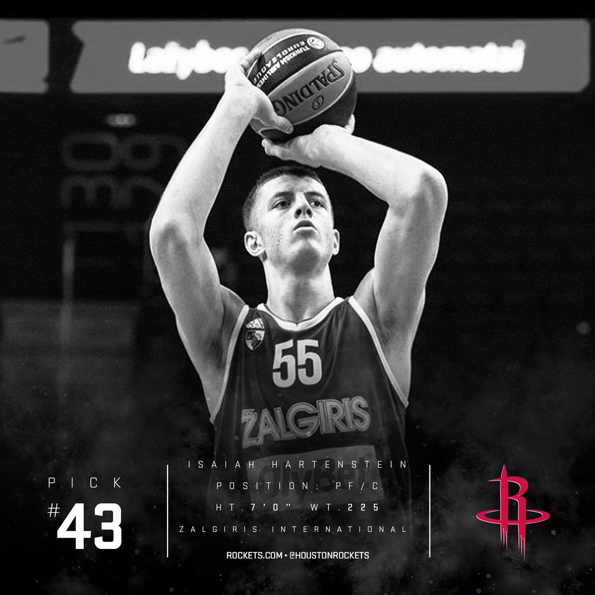 With the 43rd pick in the 2017 #NBAdraft the Rockets select Isaiah Hartenstein.