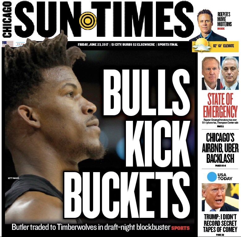 Our front page #Bulls and our back page #Cubs https://t.co/Wc8BeTJUPG