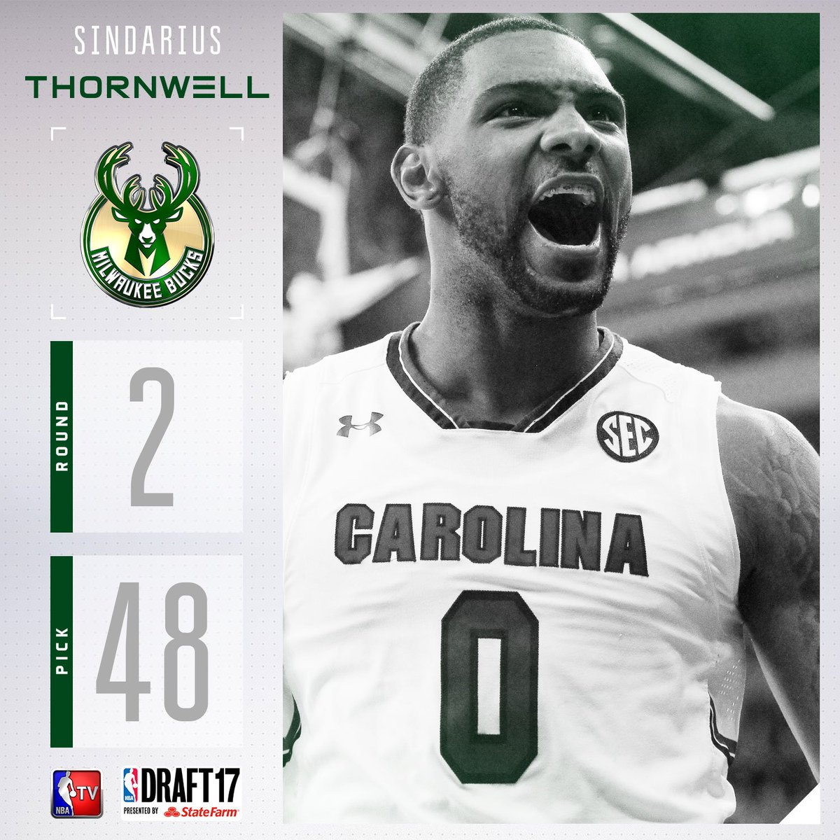The @Bucks select Sindarius Thornwell with the #48 pick in the 2017 #N...