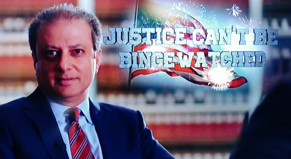 REMEMBER THIS!!!! @PreetBharara   JUSTICE CAN&#39;T BE BINGE WATCHED! #TheResistance <br>http://pic.twitter.com/zVtLLpQrCQ