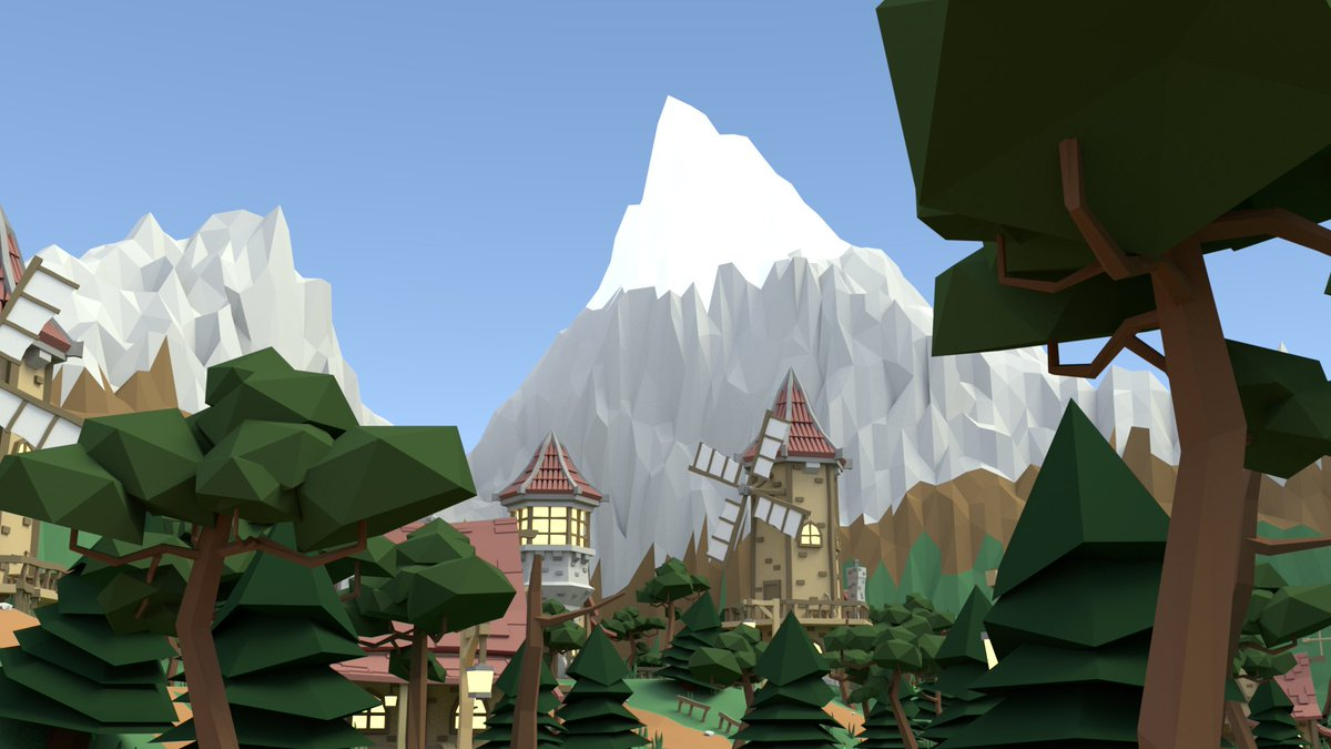 Quick pic of the village with mountains so far! #lowpoly #Blender3d #b3d #indiedev #gamedev #medieval #cartoon #modelling  #model #mountains<br>http://pic.twitter.com/tT7guu5uVl
