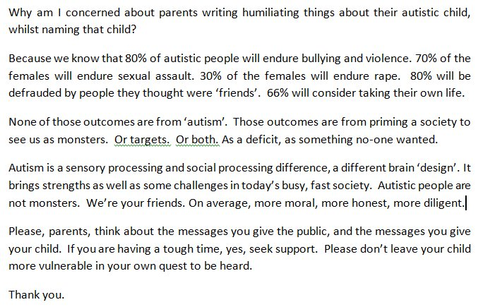 About why the #autistic communities want #parents to think carefully before &#39;naming and shaming&#39; their child. No matter how mistakenly. <br>http://pic.twitter.com/bpgRn5re7a