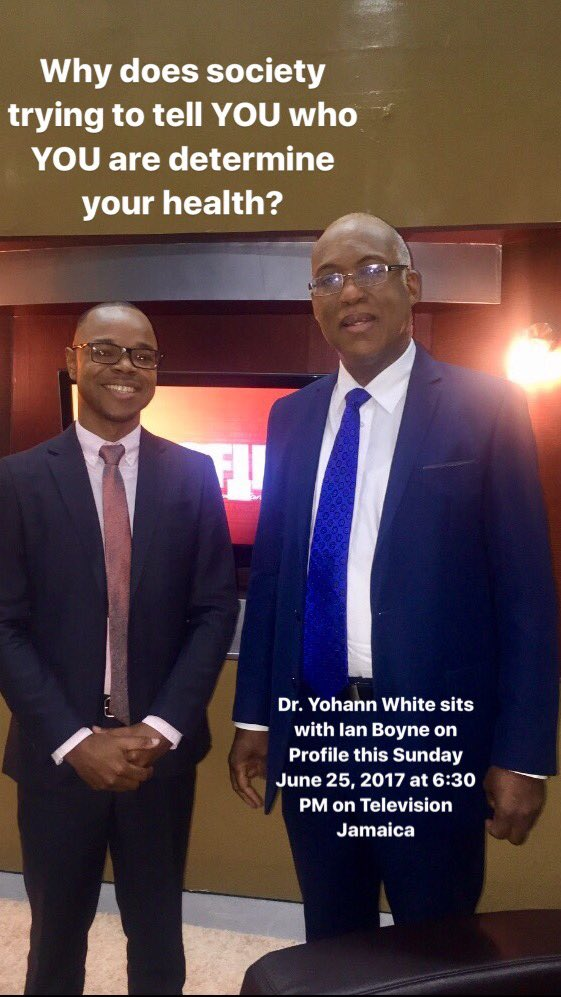 Dr. Yohann White sits with Ian Boyne on Profile this Sunday June 25, 2017 6:30 PM on Television Jamaica #MinorityHealth #Wellness #Profile <br>http://pic.twitter.com/v90a3wd3AX