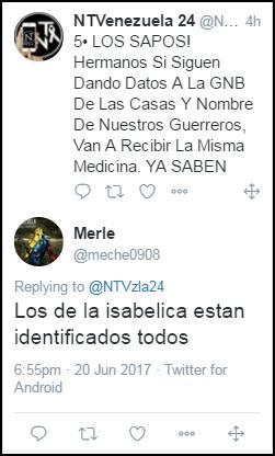 #AlertaMiercoles #21Junio @dcabellor #FlorAmarilla #Isabelica #SanBlas Mosca! #Terroristas dan ordenes d No ser pacificos amenazar y linchar https://t.co/qv1rKF1p0A