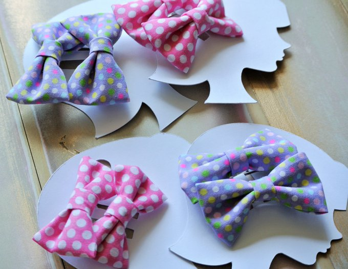 Polka Dot Bow Set, Pink/Purple Bows