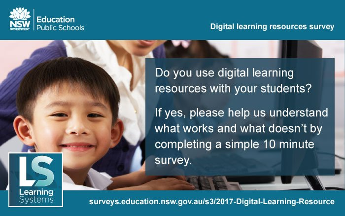 Please complete a 10 minute survey to help us find out what digital #resources #NSWDoE teachers use with students  http:// surveys.education.nsw.gov.au/s3/2017-Digita l-Learning-Resource &nbsp; … <br>http://pic.twitter.com/3sUAJw2P8G