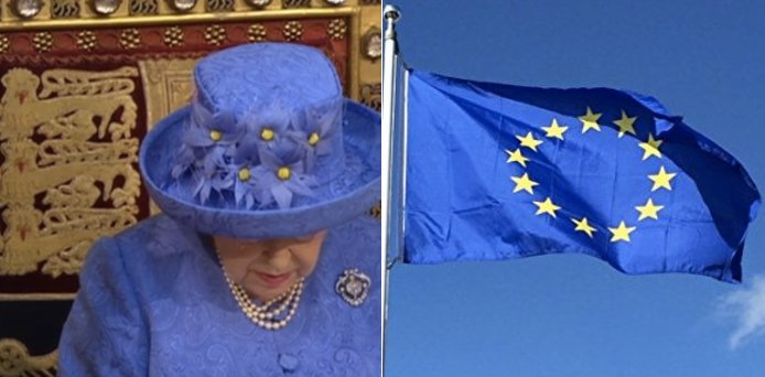 Queen looks like she's trolling Theresa May with European Union flag hat https://t.co/iMcgloIABS #QueensSpeech
