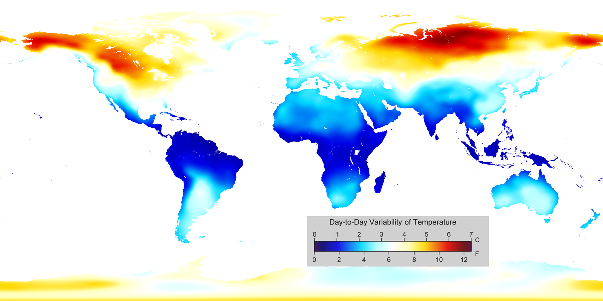 Day To Day Variability In Temperature Around The World Climate