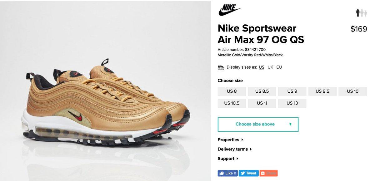 air max 97 gold restock
