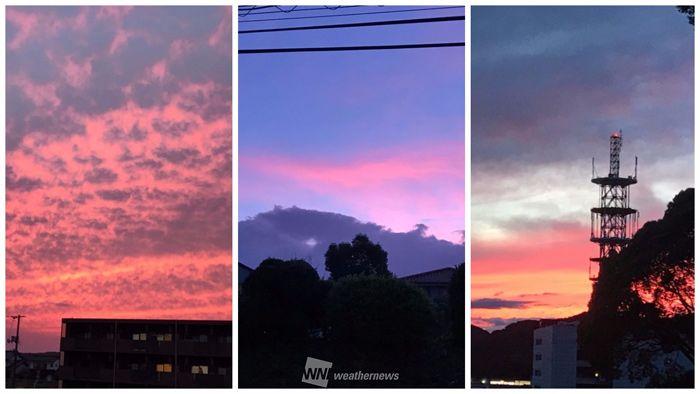 活発な雨雲が抜けた後、西・東日本の各地から艶やかな夕焼けの写真が届きました。 https://t.co/SLRMG5wrGB https:/...