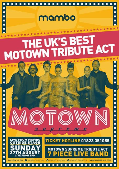 Join us as we welcome the UK&#39;s best #Motown tribute act!  Just £5 a ticket - call or pop in to buy! #MamboTaunton #Taunton #PartyTime <br>http://pic.twitter.com/HjIYniSk1w