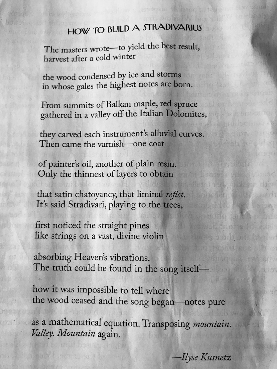 Delightful to find this poem in the #NewYorker this morning. My #Stradivarius obsession deepens. @NewYorker<br>http://pic.twitter.com/u9MoZv0fia