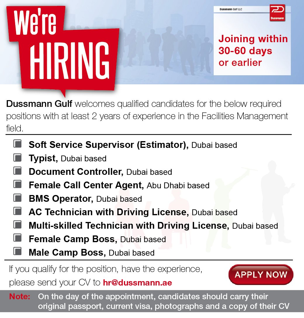 dussmann gulf llc on twitter   u0026quot we are hiring  following positions are currently available for
