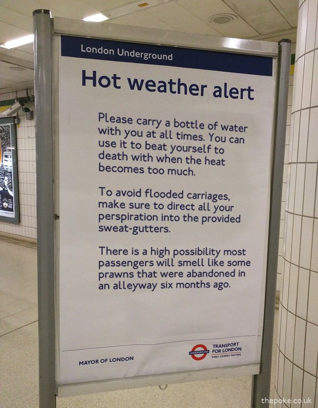 #recap Some excellent travel advice for London Underground passengers during the heatwave  https://t.co/RGyauQuGwT
