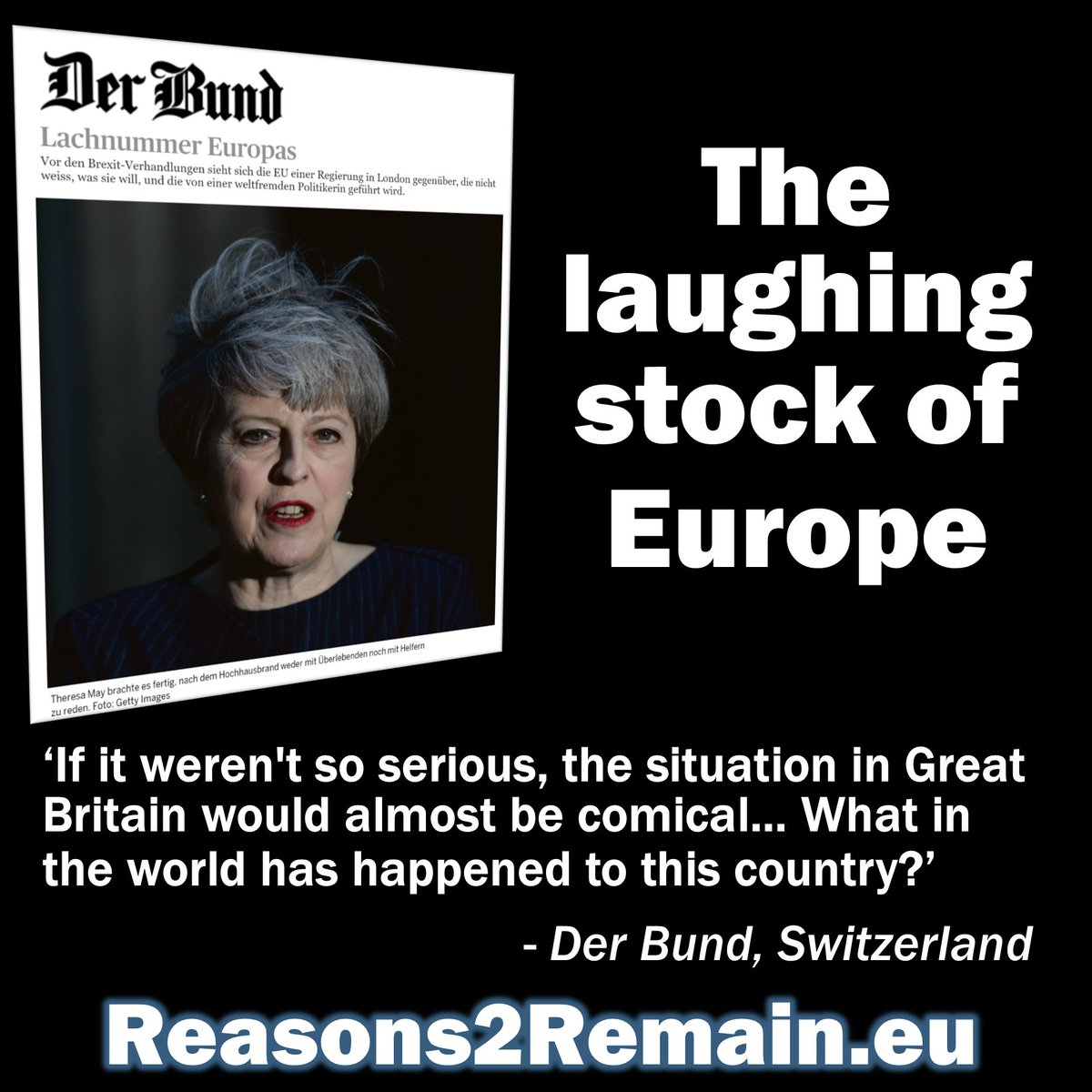 #Britain is now 'The laughing stock of #Europe' – read the translation of @derbund's damning appraisal of #Brexit:  http:// goo.gl/19bxcy  &nbsp;  <br>http://pic.twitter.com/ZzFY9zAYq5